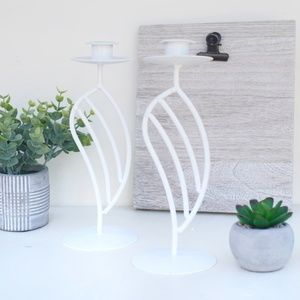 Other - White Metal Decorative Candle Holders Set